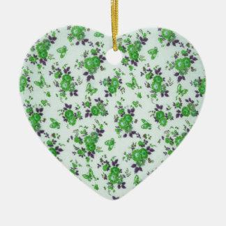 Retro Floral Pattern, green and purple. PJ Ceramic Ornament