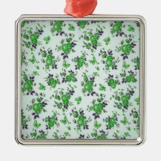 Retro Floral Pattern, green and purple. PJ Metal Ornament