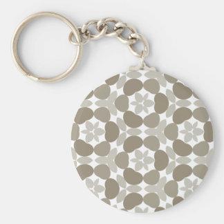 retro floral pattern basic round button keychain