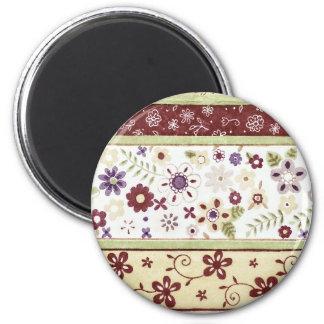 Retro Floral Pattern 2 Inch Round Magnet