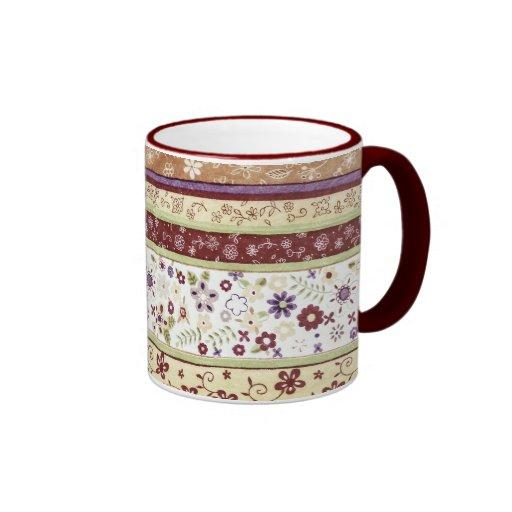 Retro Floral Pattern Coffee Mugs