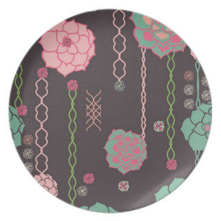 Retro floral pattern party plate