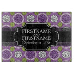 Retro Floral Pattern - Radiant Orchid and Black Cutting Board