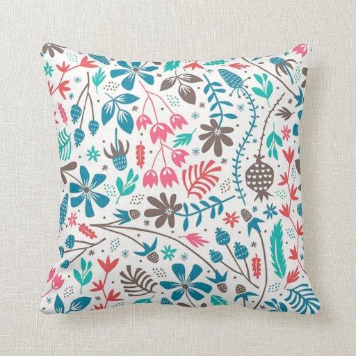 Retro Decorative Pillows : Retro Floral Pattern Throw Pillow Zazzle