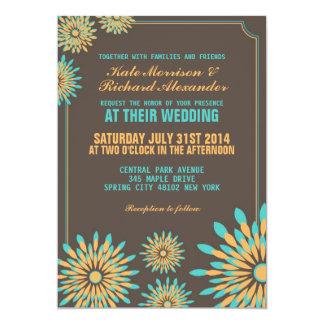 Retro Floral Pattern Wedding Invitation