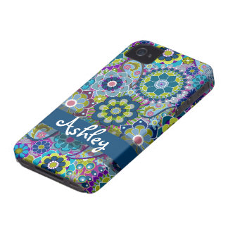 Retro Floral Pattern with Name iPhone 4 Covers