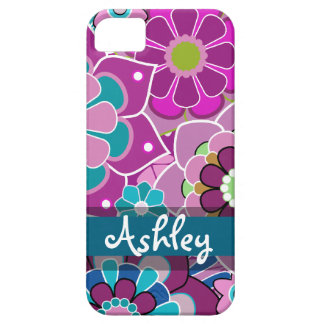 Retro Floral Pattern with Name iPhone 5 Cases
