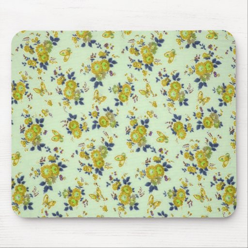 Retro Floral Pattern, yellow and green. Mouse Pad