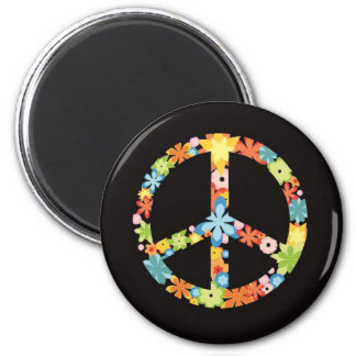 Retro Floral Peace Symbol (3).png Magnets