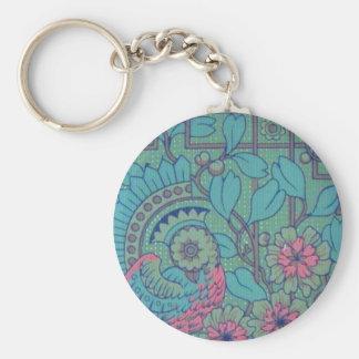 Retro Floral Peacock Key Chain