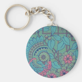 Retro Floral Peacock Keychain