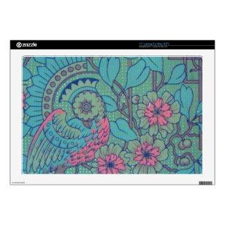 "Retro Floral Peacock Zazzle Skin Skins For 17"" Laptops"