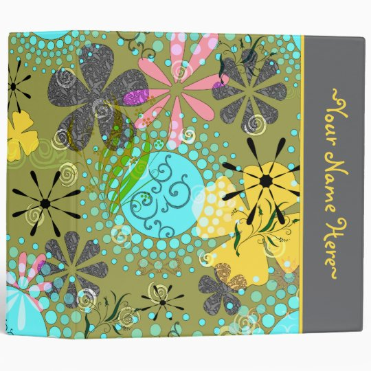 retro floral personalized avery binder