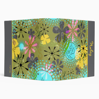 Retro Floral Personalized Avery Binder~ 2 inch Binders