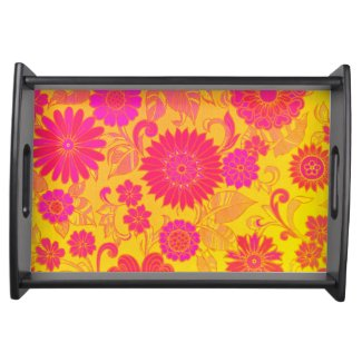 Retro Floral Pink and Yellow Food Tray