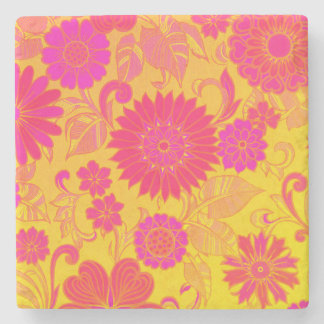 Retro Floral Pink and Yellow Stone Coaster
