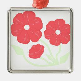 Retro Floral Pink Metal Ornament