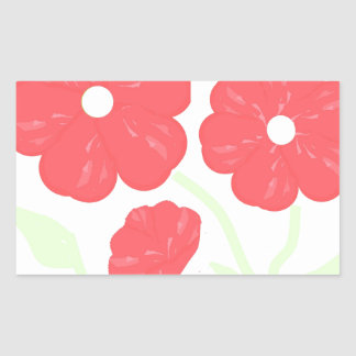 Retro Floral Pink Rectangular Sticker