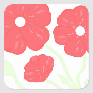 Retro Floral Pink Square Sticker