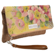 Retro Floral Primeroses Add Your Own Name Clutch