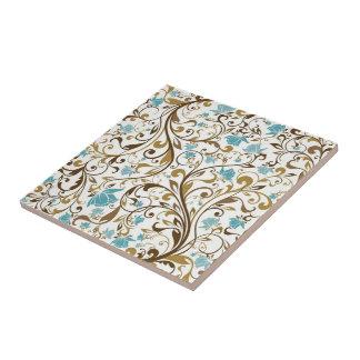 Retro Floral Print Tile