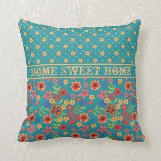 Retro Floral Prints on Teal Custom Throw Pillow