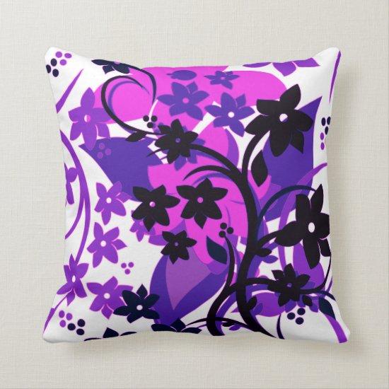 [Retro Floral] Purple Botanical Graphic Design Throw Pillow