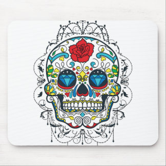 Retro Floral Sugar Skull Red Rose Blue Diamonds Mouse Pad