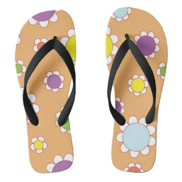 Beach Themed Retro Floral summer Flip flops
