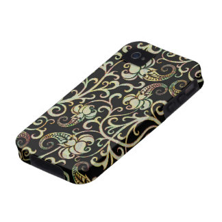 Retro Floral Swirls Silver Tones-Black Background Vibe iPhone 4 Case
