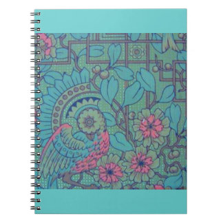 Retro Floral Teal Peacock Notebook