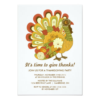RETRO FLORAL TURKEY THANKSGIVING PARTY INVITATION