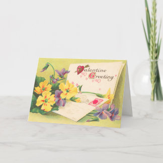 Retro Floral Victorian Valentine's Day Card