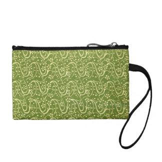 Retro Floral Vintage Swirls Swirl Green Bagettes Coin Purse