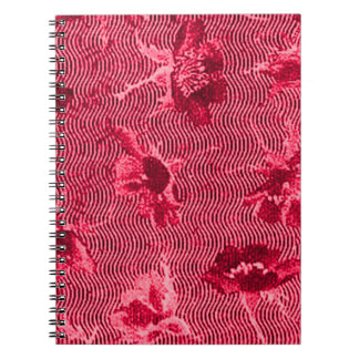 Retro Floral Waves Red Notebook