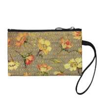 Retro Floral Waves Vintage Swirls Yellow Bagettes Coin Purse