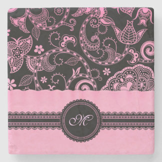 Retro Floral with Lace Ribbon and Monogram Stone Coaster