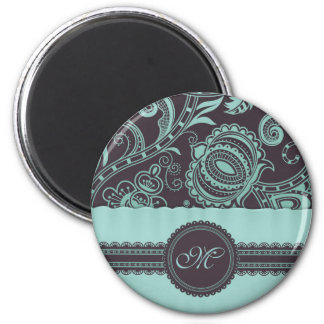 Retro Floral with Lace Ribbon and Monogram Magnet