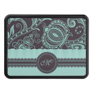 Retro Floral with Lace Ribbon and Monogram Trailer Hitch Cover