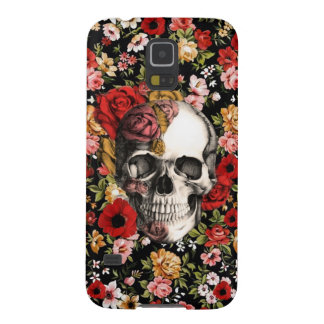 Retro florals with skull pattern case for galaxy s5