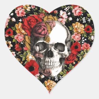 Retro florals with skull pattern heart sticker