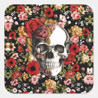 Retro florals with skull pattern square sticker