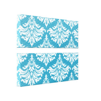 Retro Flourish Blue Stretched Canvas Print