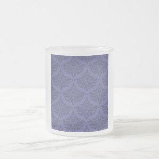 Retro Flourish Blue Violet Frosted Glass Coffee Mug