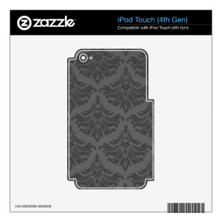 Retro Flourish Charcoal Decal For iPod Touch 4G