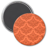 Retro Flourish Orange Refrigerator Magnet