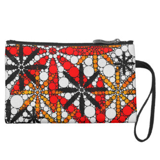 Retro Flower Abstract Suede Wristlet