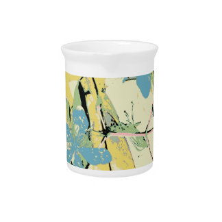 retro flower blue and yellow drink pitcher
