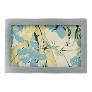 retro flower blue and yellow rectangular belt buckle