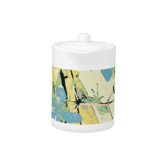 retro flower blue and yellow teapot